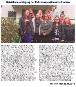 MINT AK besucht die Polizeiinspektion Altenkirchen
